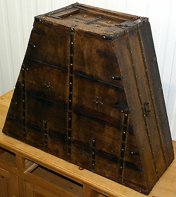 Stunning Antique Solid Wood Hand Made Gold Coin Oak Trunk With Steel Hinges
