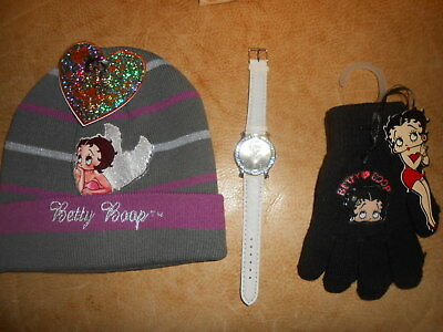Lotto Cappello (Cappuccio) Orologio Da Polso E Guanti Betty Boop Idea Regalo