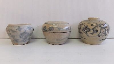 Chinese Provincial Jars Blue and White- Lot of 3