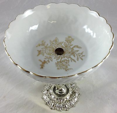 Beautiful Antique Mid Century White Porcelain Floral Compote Dish on Metal Stand