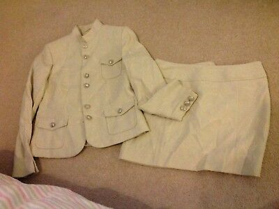 Next Ladies creamy Silver stud button military style Suit Size 10
