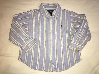 Baby Boys Striped Ralph Lauren Shirt Aged 18 Months