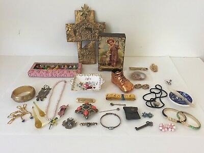 Estate Junk Drawer Lot Jewelry Silver Collectibles Vintage More (WBC))
