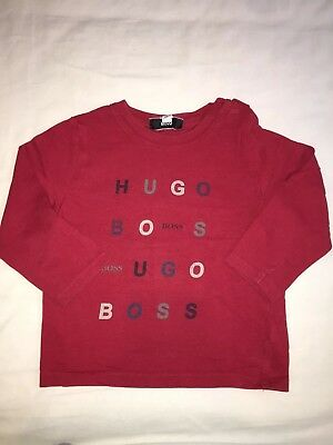 Baby Boy Hugo Boss Long Sleeved Red Top Age 18 Months