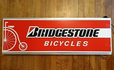 """NOS, in the box, 1985 BRIDGESTONE lighted """"Point of Purchase"""" bike shop sign"""