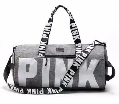 Victoria's Secret Love Pink Duffel / Gym Bag - Grey - Free Shipping