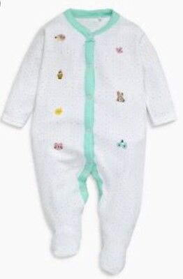 Next Baby Girls White Spot & Embroidered Animal Sleepsuit 0-1 🌸BNWT