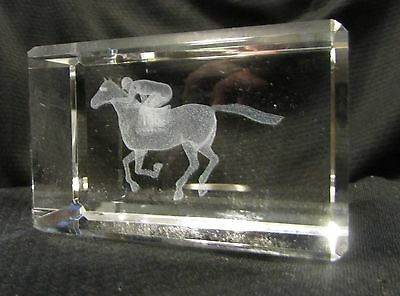 Laser 3D Etched Crystal Ornament Gift + FREE GIFT BOX Race Horse & Jockey
