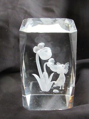 Disney Tinkerbell Fairy Friend & Flowers Laser 3D Etched Crystal Ornament Gift