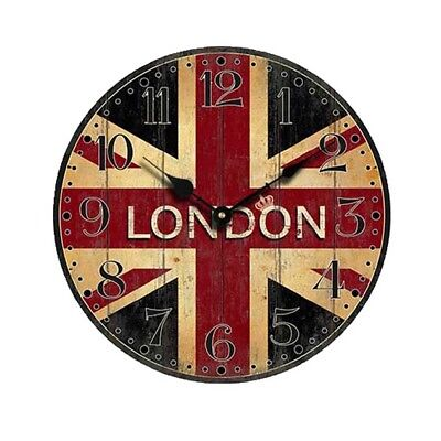 Vintage British Flag Style  Silent Wood Wall Clock Non-Ticking