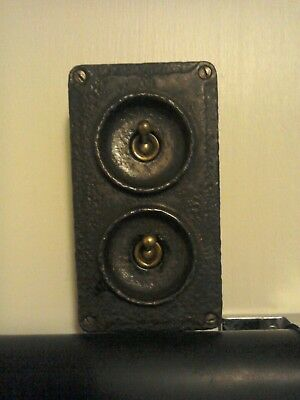 reclaimed original art deco crabtree cast iron two gang light switch