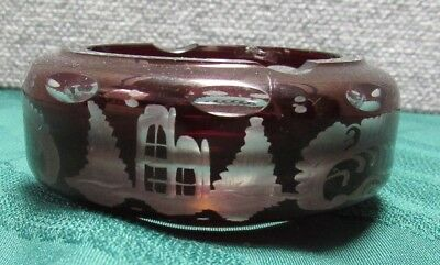 Antique Vintage Ruby Glass Cut To Clear Ashtray