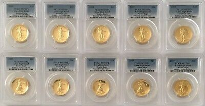 LOT OF x 10 GOLD 2009 $20 ULTRA HIGH RELIEF - ALL GRADED MS70PL PCGS