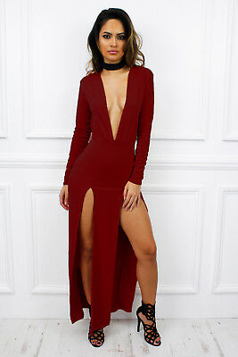 UK New Maxi Low V Plunge Slit Long Sleeve Glam Bodycon Dress Sexy Party Club