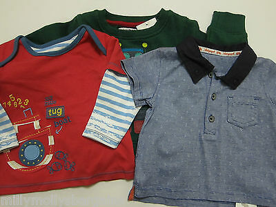 New Baby Boys Green NEXT Jumper & Marks & Spencer Blue & Red Tops Age 3 - 6 Mths
