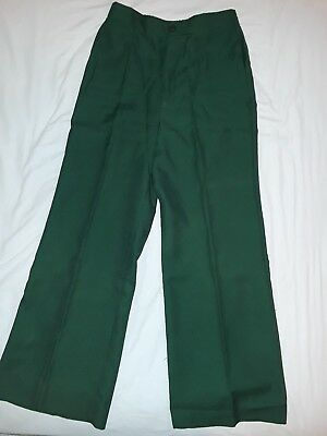 2 pair of Vintage 70s polyester womens pants - blue & green VTG 1970s
