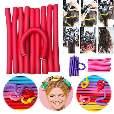 10PCS DIY Styling Hair Rollers Curler Makers Soft Foam Bendy Twist Curls Tool BE