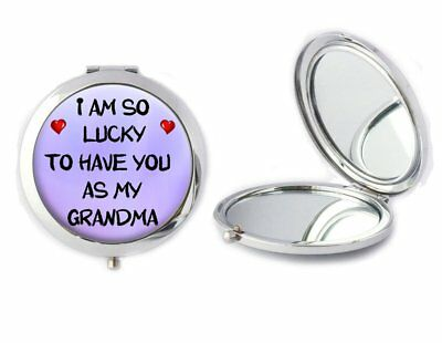 Lucky To Have You As My Grandma Compact Mirror Ladies Birthday Mothers Gift T119