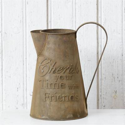 Vintage Primitive Decorative Vase, Canister, Pitcher Cherish Time With Friends