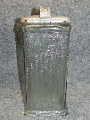 "Rare Antique Pressed Glass Visible Mail Box Mailbox Aluminum Lid 12"" 1900's"