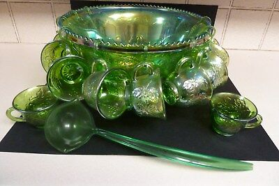 Green Carnival Glass Punch Set  Bowl And  12 Cups With Scoop