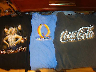 Three Assorted Slightly Defective T-Shirts! Band Perry Cirque Du Soleil Coke