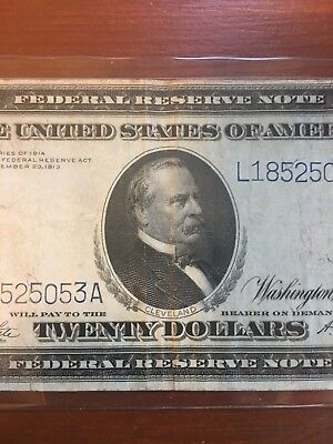 $20 Federal Reserve Note 20 Dollar Bill Paper Money Large Size Series 1914