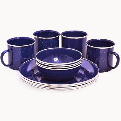 Oztrail 12 Piece Enamel Dinner Set Bowl Plate Mug Camping Picnic OZTOCP-ENDS-D