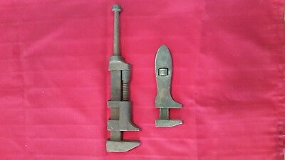 2 old vintage handmade adjustable wrenches