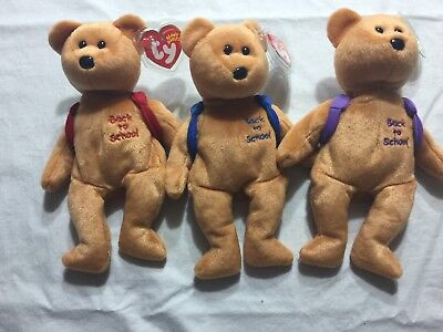 TY BOOKS the BEAR BEANIE BABY SET of 3 - RED, BLUE & PURPLE - ALL MINT TAGS