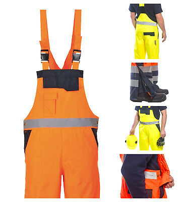 Portwest Hi Vis Visibility Safety Bib and Brace Waterproof Trousers Pants S488