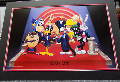 "Looney Tunes ""class Act"" 1994 Matted / Framed Warner Borthers O-O-P Lithograph"