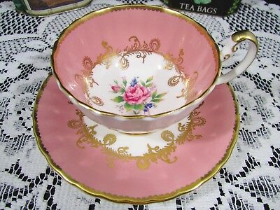 Aynsley Blush Pink Rose Floral Oban Style Tea Cup And Saucer