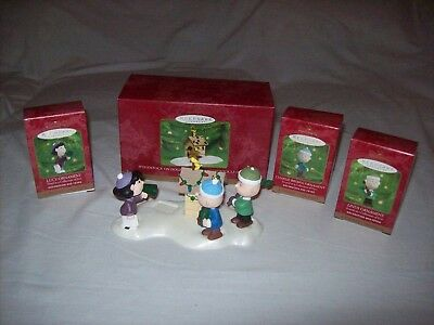 Hallmark Woodstock on Doghouse Display, Lucy, Charlie Brown, and Linus Ornaments