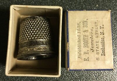 ANTIQUE TAILORS THIMBLE in original BOX E.B. BOOTH & SON, JEWELERS Rochester NY
