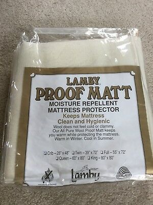 Lamby PROOF MATT Moisture Repellent Mattress Protector CRIB 28x48 Pure New Wool