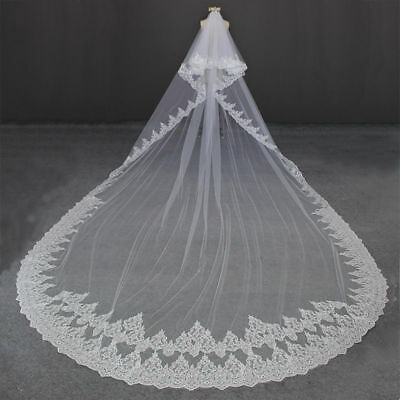White Veils 3M Long 2T Cathedral Wedding Bridal Veil Lace Edge + Comb