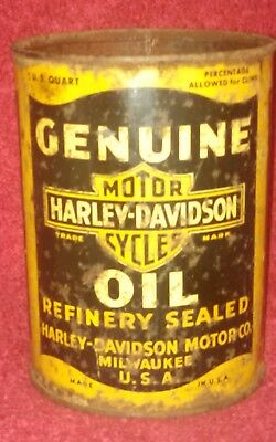 Vintage Early Harley Davidson 1 Quart Motorcycle Oil Can