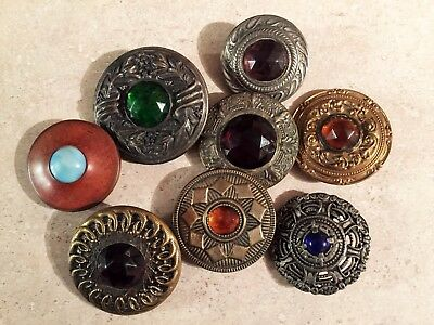 Fabulous Group Of 8 Antique Jewel Gay 90's Glass In Metal Buttons Varied Colors