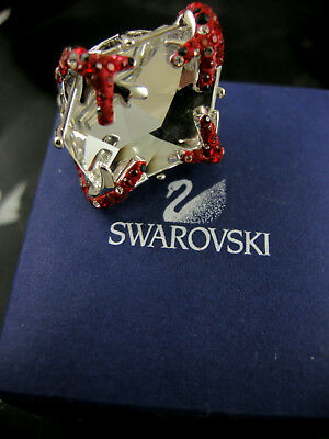 Signed Swarovski Crystal Coral Branch Ring Md 55 New In Box Rare Collector !