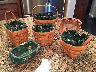 Longaberger Chive Basil Oregano Thyme Business Card Baskets With Liners Lot Of 6