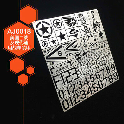 US Army WWII Military vehicle marking Metal Airbrush Stencil Template Paint Mask