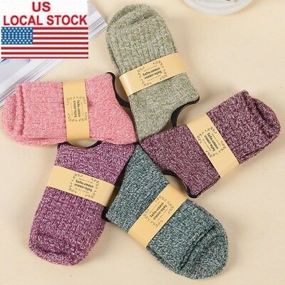 5 Pairs Women's Soft & Comfortable & Warm Thick Wool Cashmere Socks Size 6-9