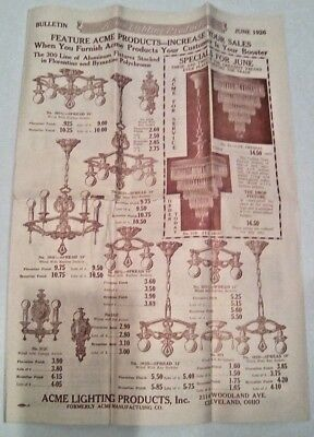 Vintage 1926 ACME MFG. Co. Cleveland ELECTRICAL FIXTURES  June SALES BULLETIN