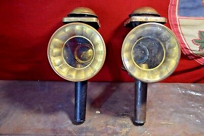 1884 Pair of Antique Kerosene Carriage LAMPS Buggy Coach Bevelled Lantern Early