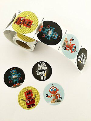 Cute Robot Stickers Roll 100 Quality Stickers In Each Roll Made In USA
