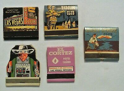 Lot of 5 Las Vegas to Reno Nevada Matchbooks, El Cortez, Harolds Club, Lucky