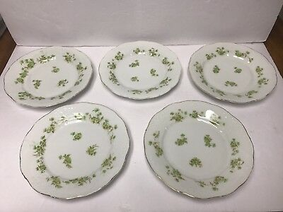 """Silesia Embossed (5) 8 1/2"""" Plates Green Flowers"""