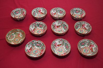 Rare Vintage Chinese Famille Rose Round Bowls, Vibrant Embossings