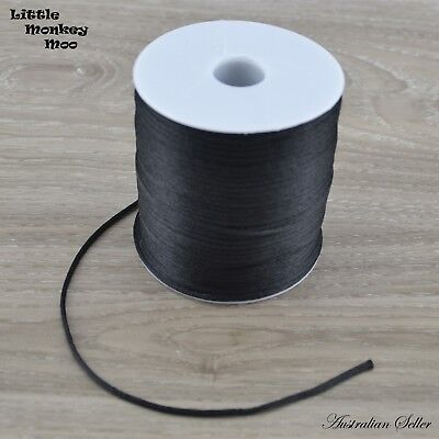 Black Satin Nylon Cord 2mm Teething DIY Necklace Beads Jewellery 1 to 40 Meters